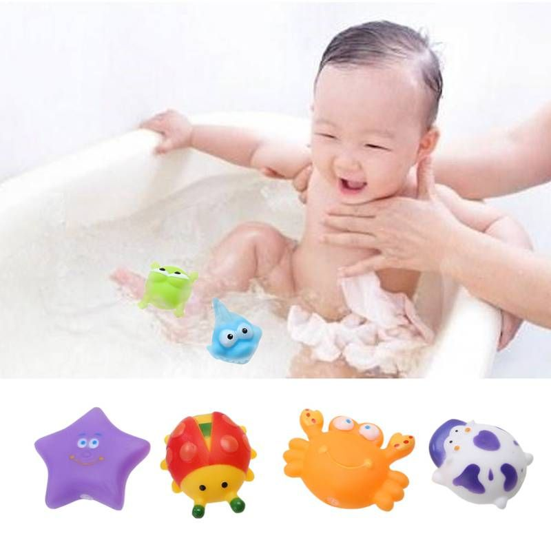 12pcs/set Cute Animals Floating Squeeze Sounding Baby Bath Toys Soft Rubber Kids Children Lovely Swimming Toy Gift