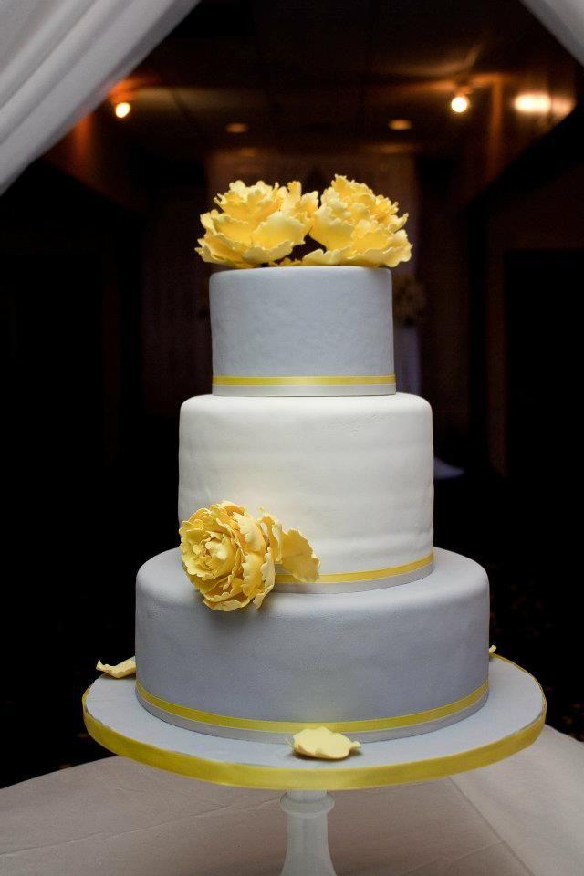 Simple Elegant Peonies Wedding Cake Ivory Silver Yellow Yellow And Gray Peony Cake