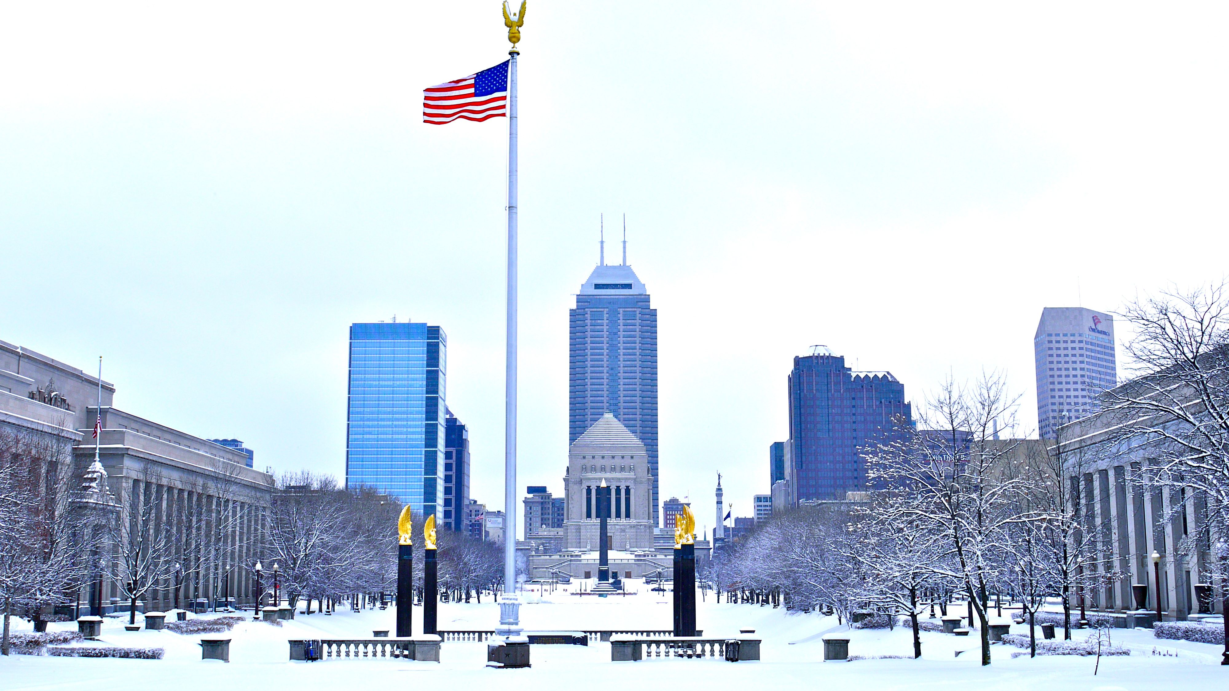The Indianapolis Skyline Snow Coated In February