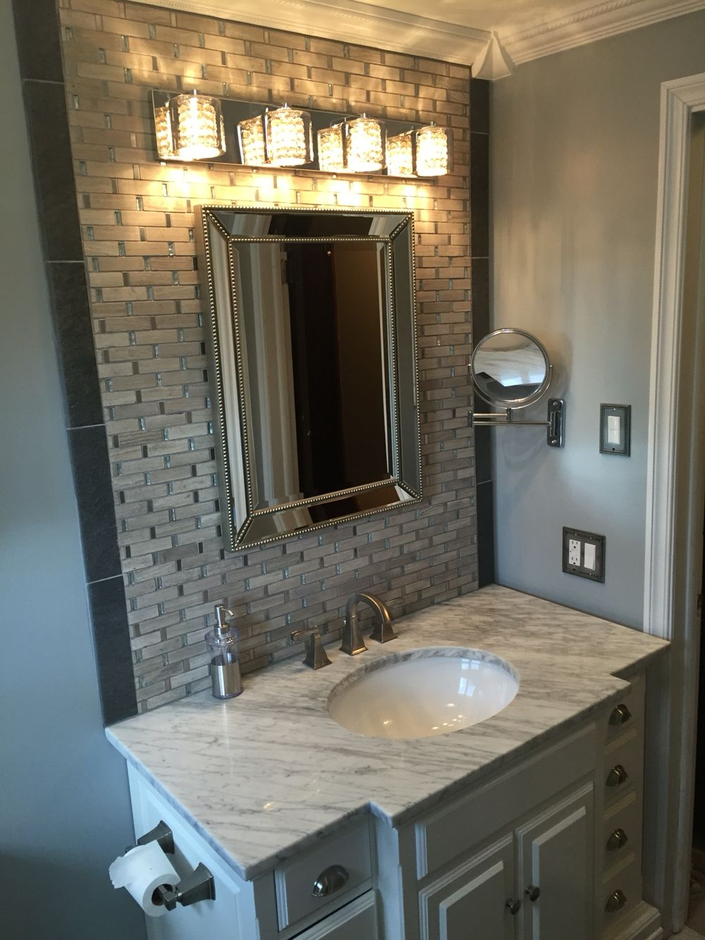 Galvano Charcoal And Ms International Stella Mosaic Above Sink Allen Roth Vanover White