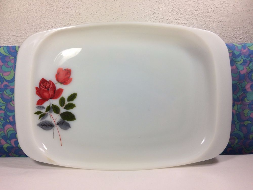 Vintage Retro 70s Pyrex June Rose Large Serving Plate Platter Oblong Rectangle | eBay & Vintage Retro 70s Pyrex June Rose Large Serving Plate Platter Oblong ...
