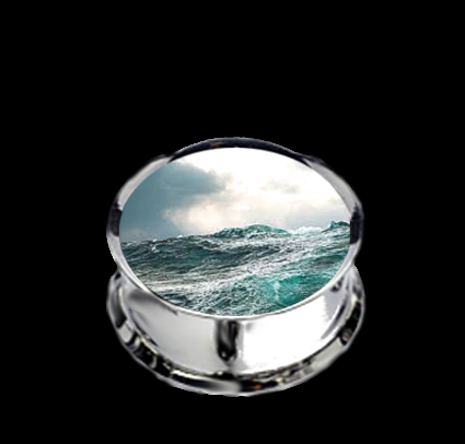 Pair Stainless Steel Ocean Tempest Plugs for Stretched Ears - Pick Your Size, Custom Made
