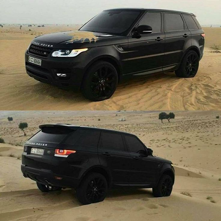 All Black Land Rover Range Sport In Dubai Sand