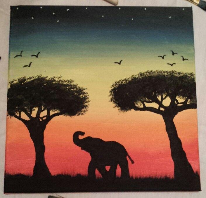 Acrylic Painting Ideas Canvas Elephant