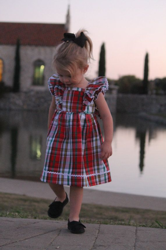 ca1d9e633 Christmas Plaid Ruffle Dress Red Baby Toddler by LaurensLinens Red Green  Yellow, Toddler Girl Outfits