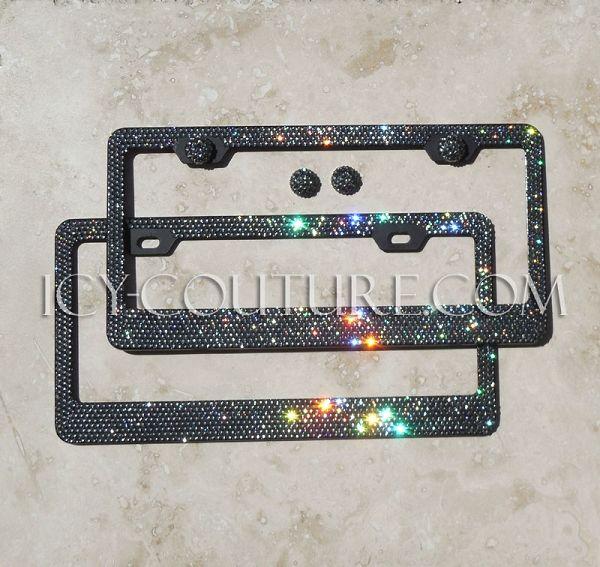 2 Black Metal Diamond Bling Glitter License Plate Frame Cover Crystal RhineStone