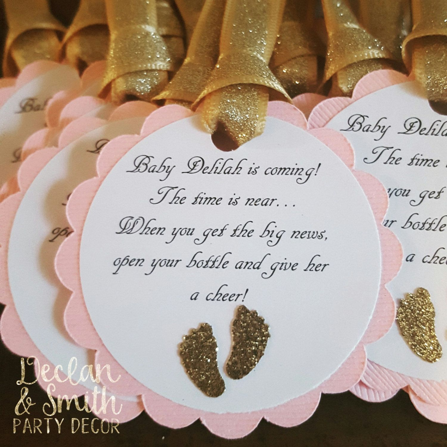 pink and gold glitter baby shower favor tags barefoot wine party