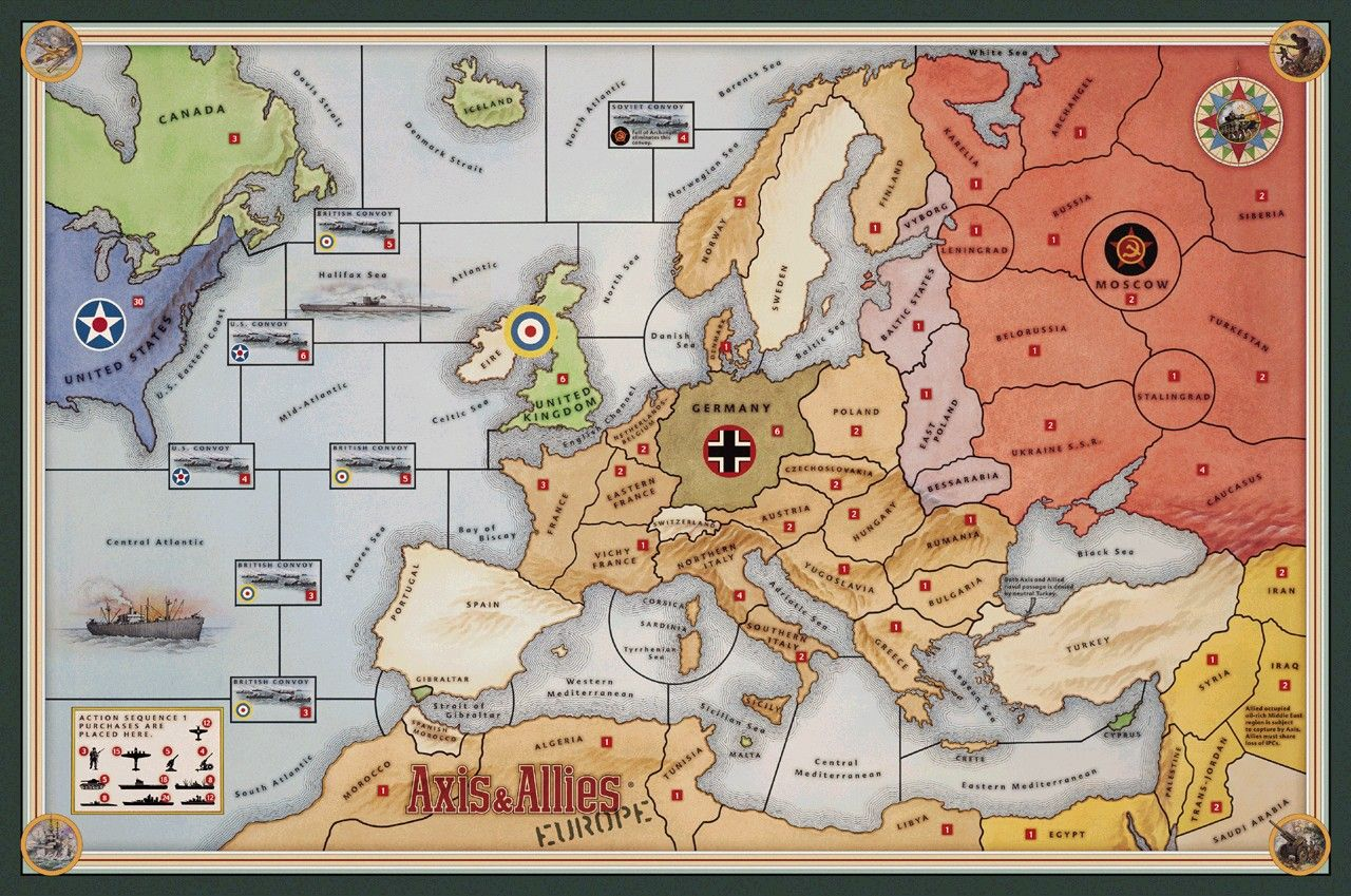 Large Axis and Allies Maps Axis & Allies Europe Map