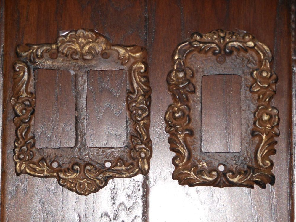 Victorian Cast Iron Double Rocker Switch Plate Cover and Bronzed