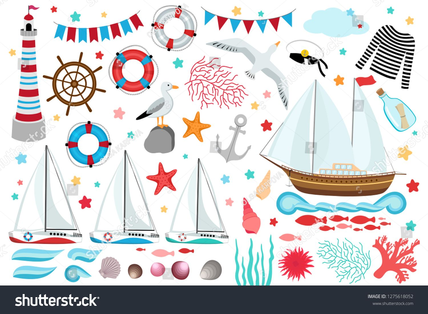 Marine Clip Art Collection Big Set Of Design Elements Ship Yacht Light House Anchor Shell Seagull Seaweed Message In Bottle Clip Art Art Art Collection