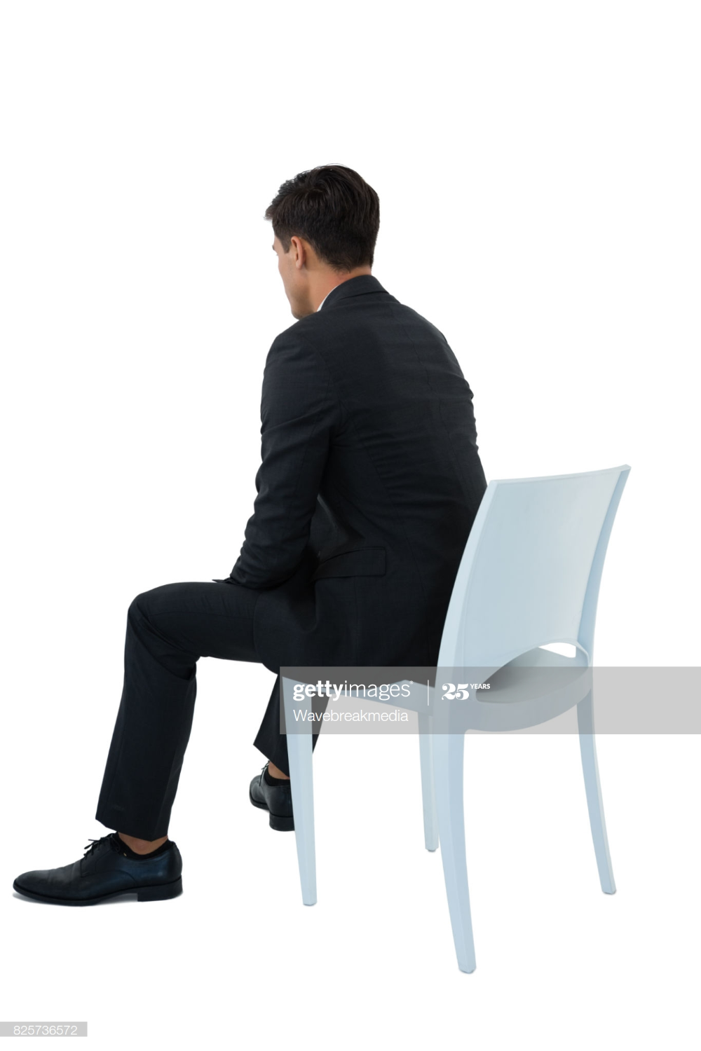 Rear View Of Businessman Sitting On Chair Against White Background Business Man Rear View Views