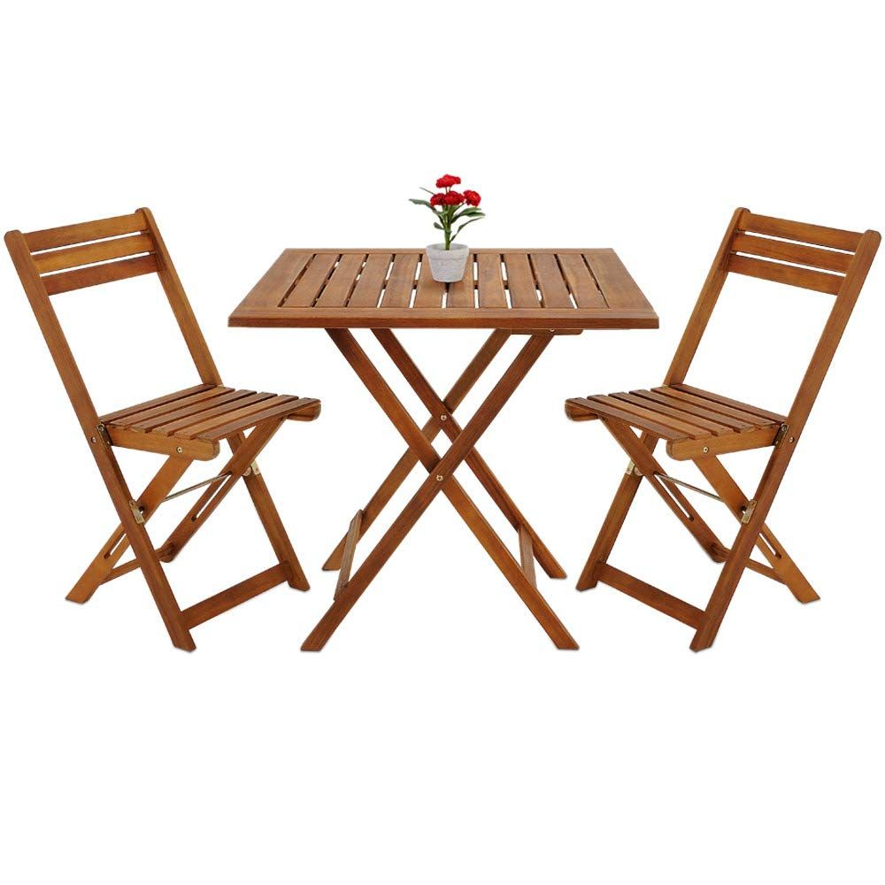 Deuba Wooden Balcony Table Chair Set Acacia Wood Patio Conservatory Outdoor Garden Bistro Cafe C In 2020 Folding Furniture Wooden Garden Table Pallet Furniture Outdoor