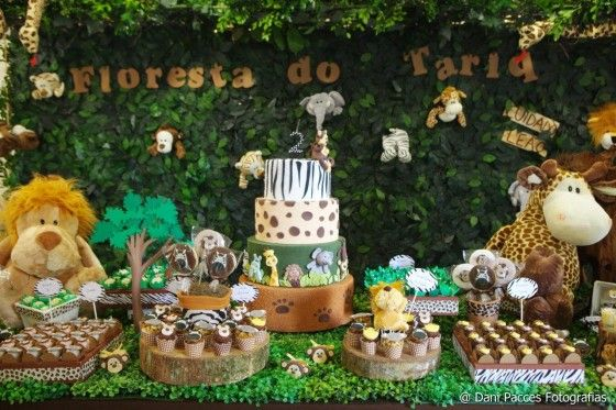Festa Infantil Festa na Floresta Safari birthday party, Birthday party desserts e Safari party # Decoração Festa Infantil Zoologico