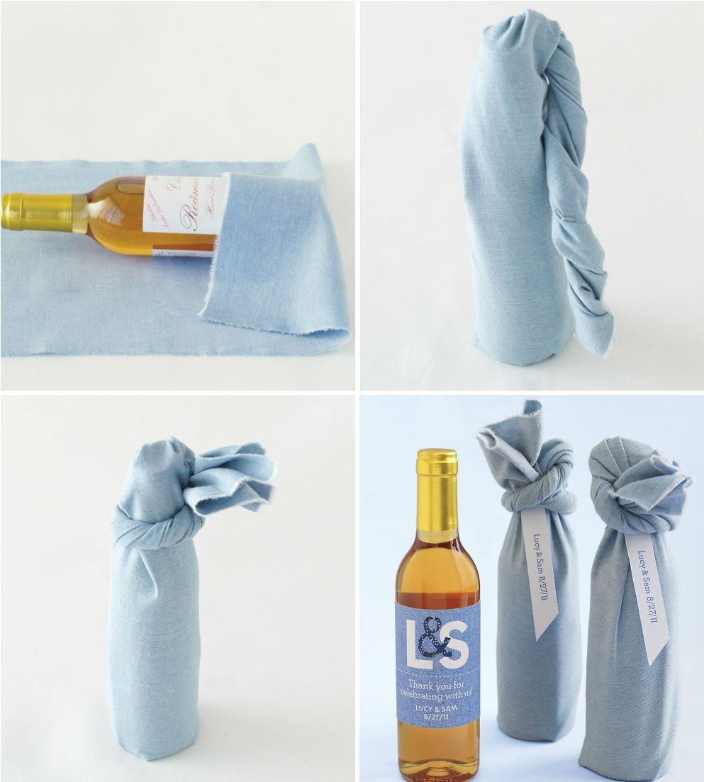 Fabric-Wrapped Wine Wedding Favor | Favors, Bottle and Wine