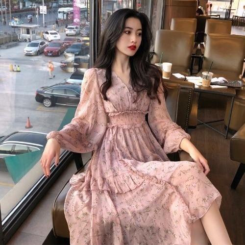 2021 Spring Autumn Women Floral Printed Chiffon Dress Sweet V Neck Slim Fit Long Dress Korean Style Ruffle Plus Size Vestidos - Pink / XL