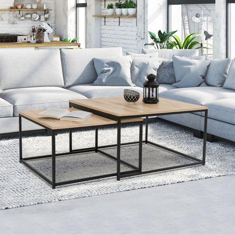 Lot De 2 Tables Basses Gigognes Detroit 60 70 Design Industriel 13415 Table Basse Style Industriel Table Basse Gigogne Table Basse
