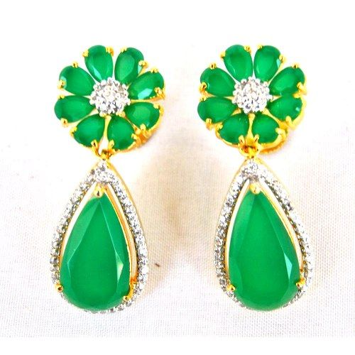 Floral Emerald Diamond Earrings