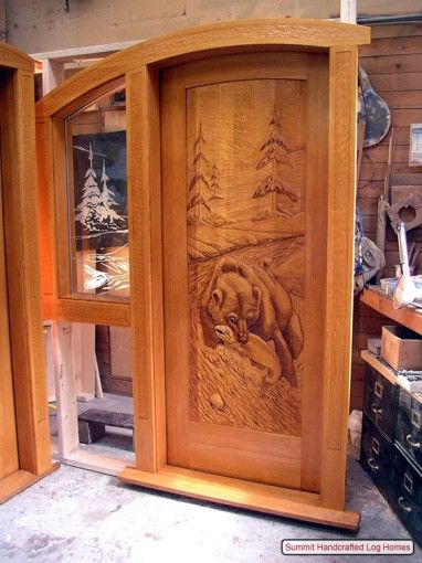 Hand Carved Doors Make Your Cabin Even More Rustic   Eye catching ...