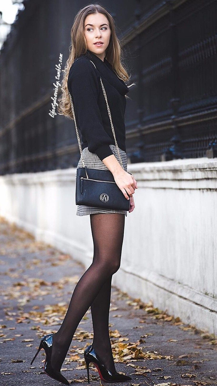 Pin by silver on sexy heels pinterest hot outfits black tights