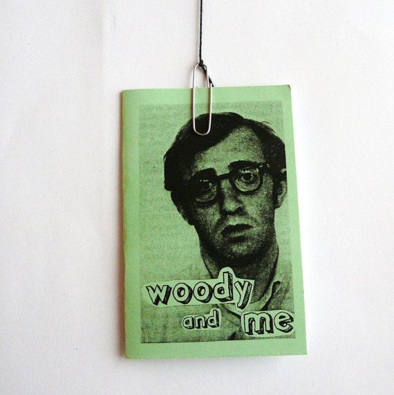 Zine -- WOODY and ME -- woody allen illustration -- celery green, indie, non fiction paper book #eveyinorbitshop on @Etsy!