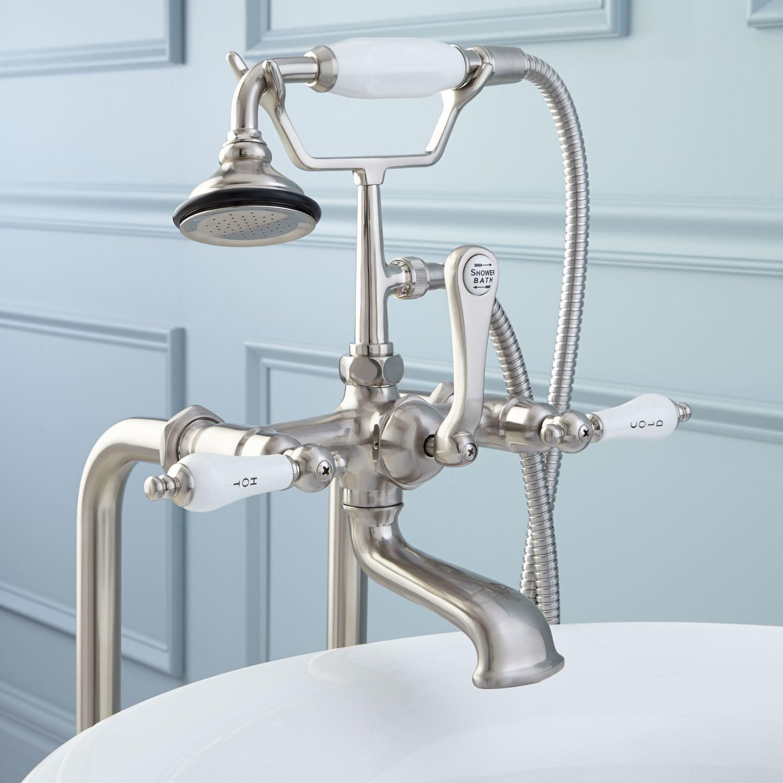 "31-1/2"" Freestanding Telephone Faucet - Porcelain Lever Handle - Brushed Nickel"