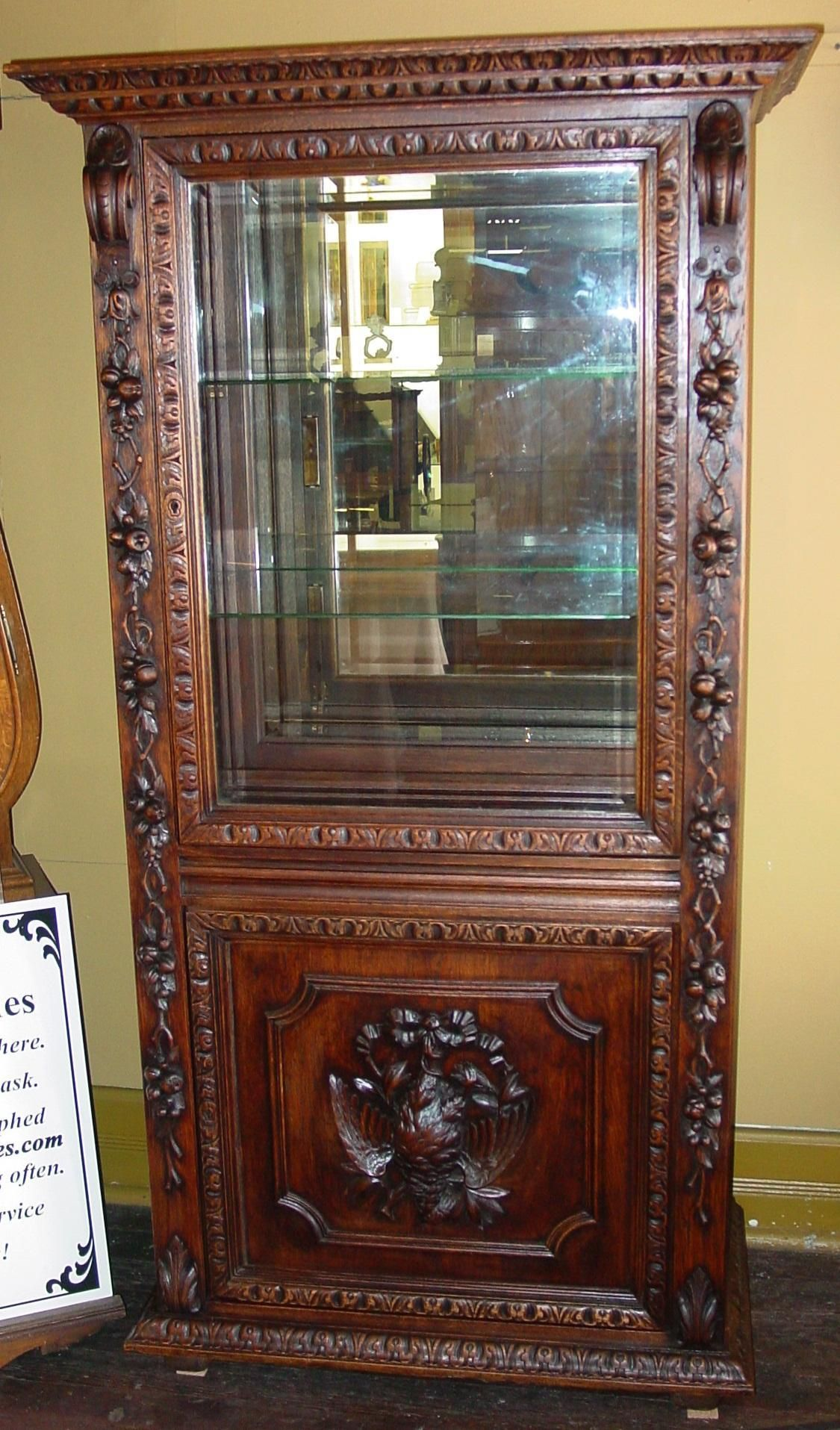 Very fine antique hand carved oak display collector's cabinet - Very Fine Antique Hand Carved Oak Display Collector's Cabinet Wood