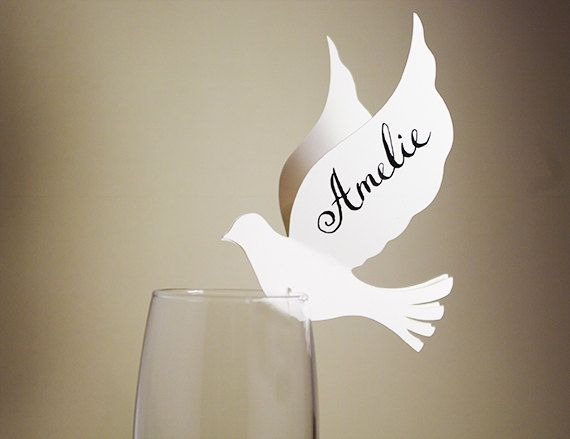 20 Place Cards, Doves, Love Birds Themed Wedding, Decor for Wine Glass, Original Calligraphy, Cutout, Scrapbook, Papercut by Naboko
