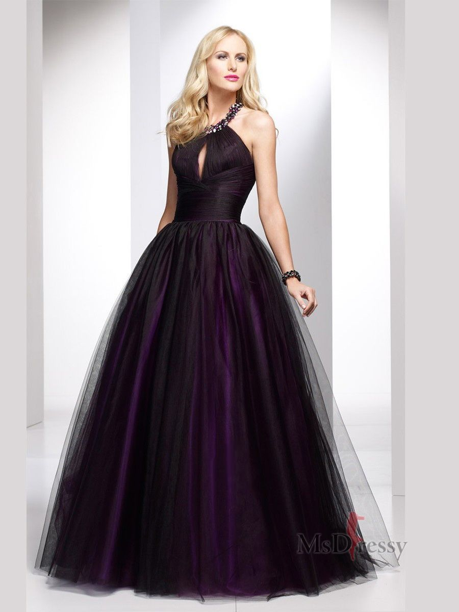 Aline halter floorlength tulle popular prom dress with beading
