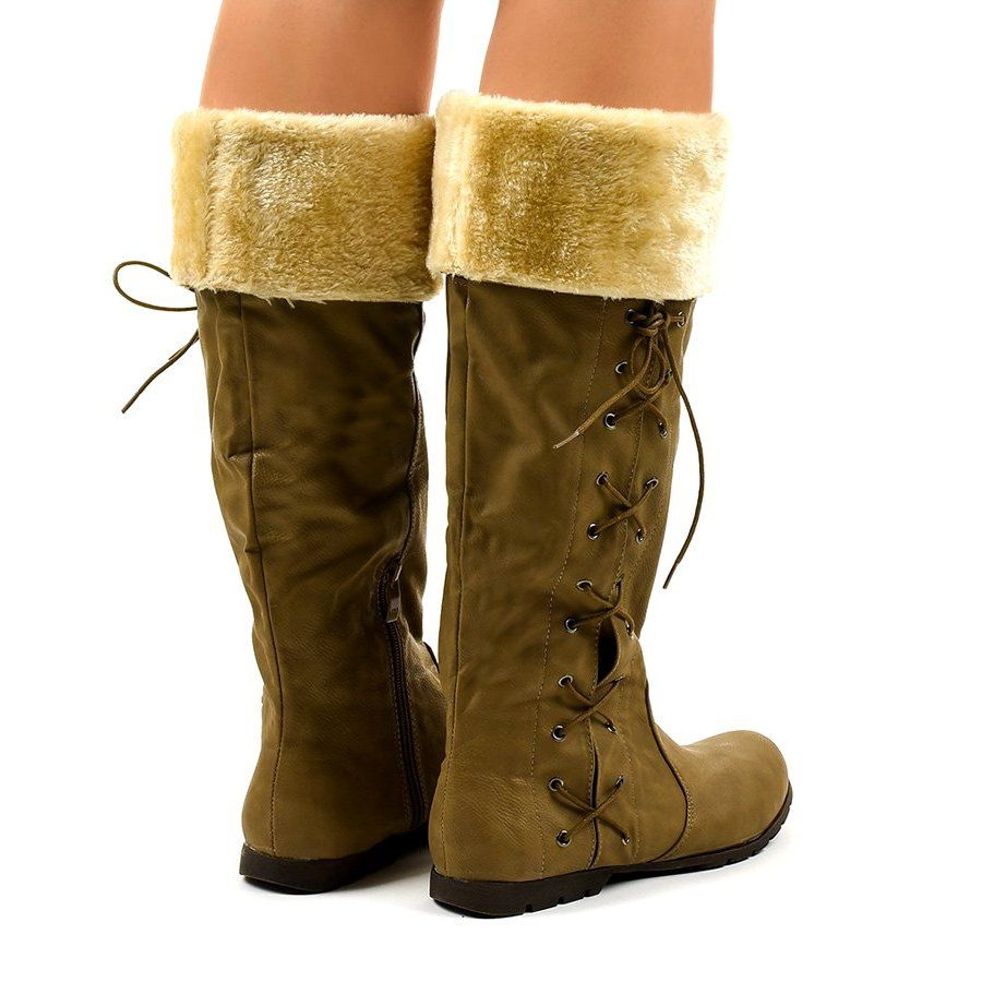 Camelowe Ocieplane Traperki Workery Pungent Wielokolorowe Shoes Boots Ugg Boots