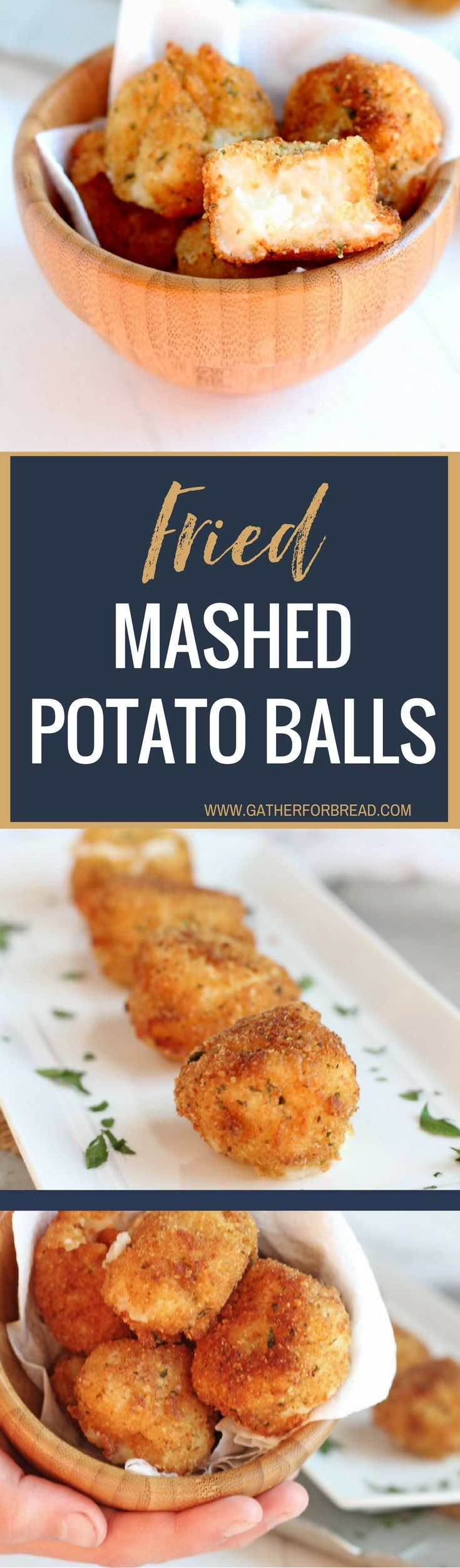 Fried Mashed Potato Balls - Leftover mashed potatoes make these perfect crisp bites for a tasty side dish or appetizer. Crunchy outside, stuffed with a creamy inside.
