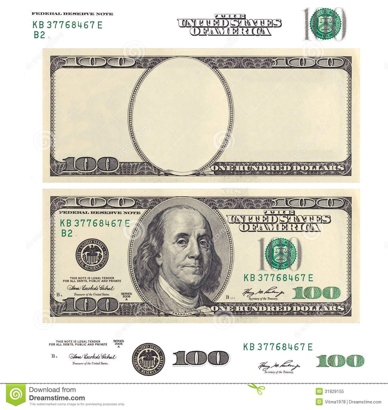 Clear 100 Dollar Banknote Template And Elements See My Other Works
