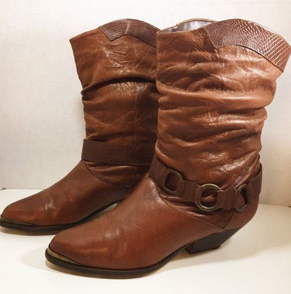 660eee8e06a66 Brown Leather Slouch Boots with Harness size 8 1/2 | Bus stop Shop ...