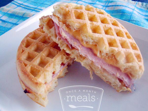 Eggo Breakfast Sandwiches recipe -- use Van's waffles #freezercooking #breakfast #waffles