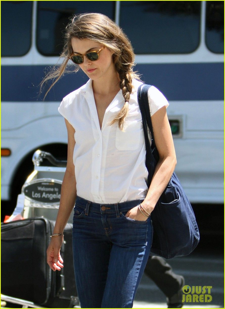 Kerri Russell -- Simple, clean lines.  Love the sunglasses and messy braid.