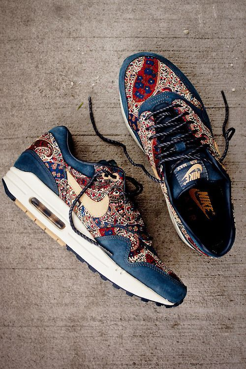 new product f83b1 c6a75 Nike Air Max 1 X Liberty QS-Armory Navy  Vachetta.