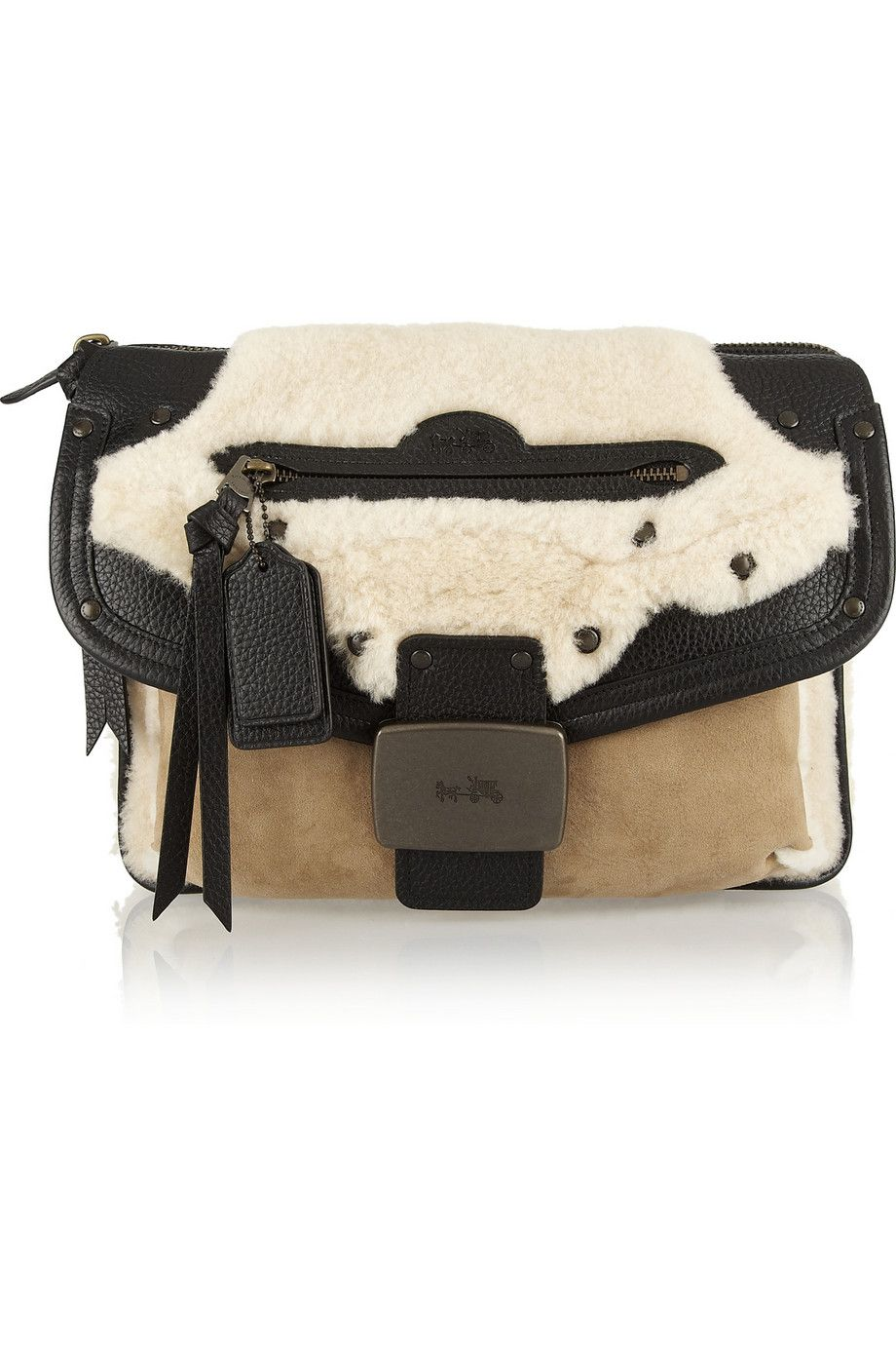 Coach | Rhyder shearling, suede and textured-leather clutch | NET-A-PORTER.COM