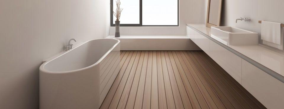 Strakke badkamer meubels en houten vloer #scheepsdekvloer   Badkamer ...