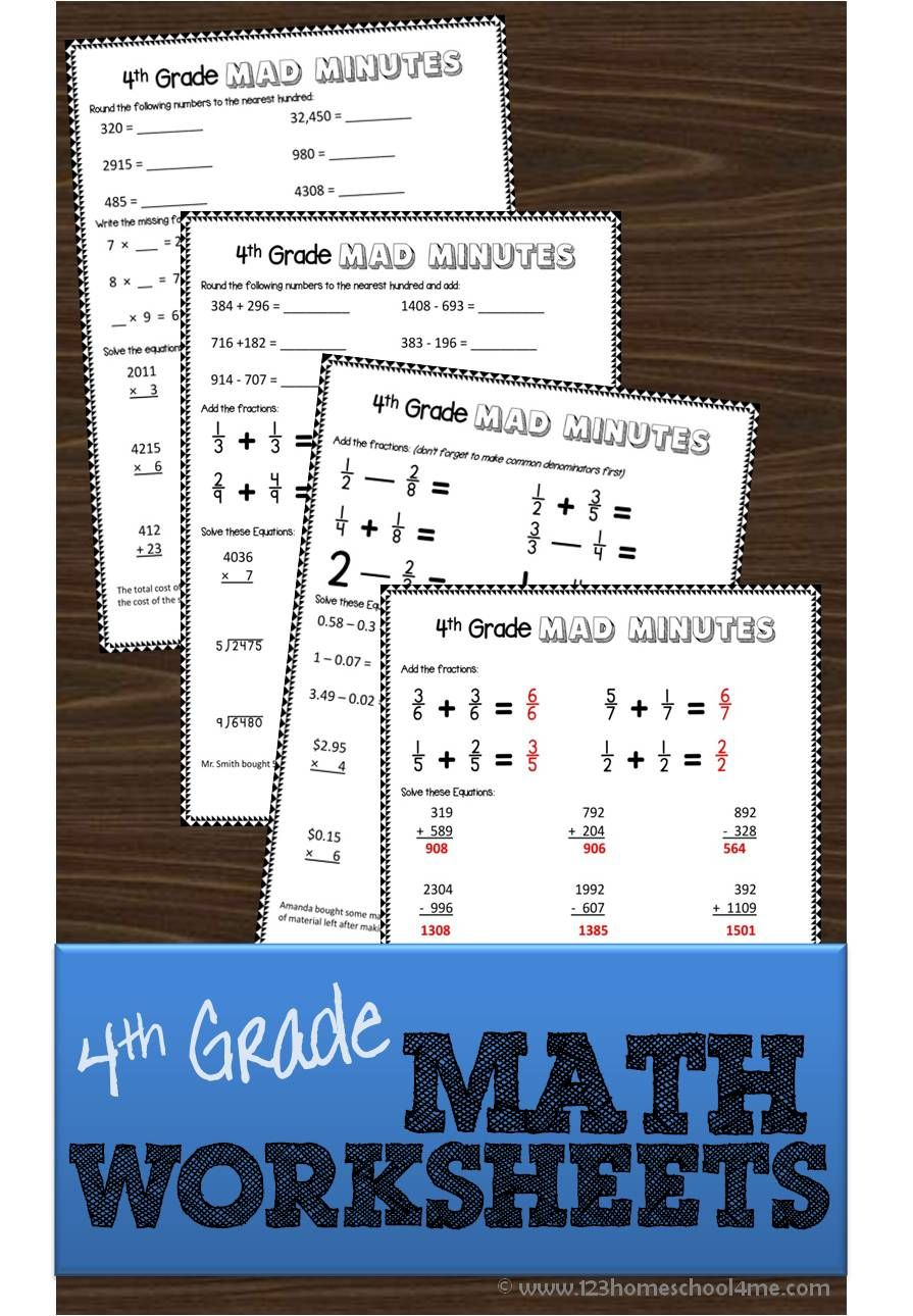 FREE 4th grade math worksheets - these are great for extra practice ...