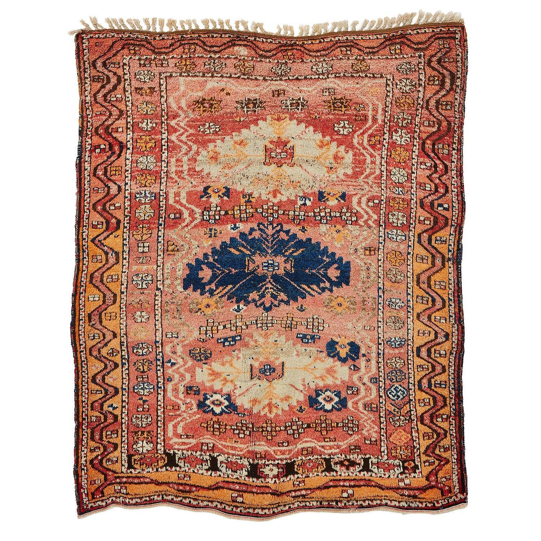 """Vintage Kurdish Wool Rug - 4'5""""x5'5"""""""