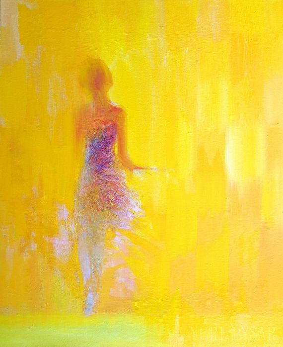 Yellow wall art print gift for her - Modern canvas art - Giclee art ...