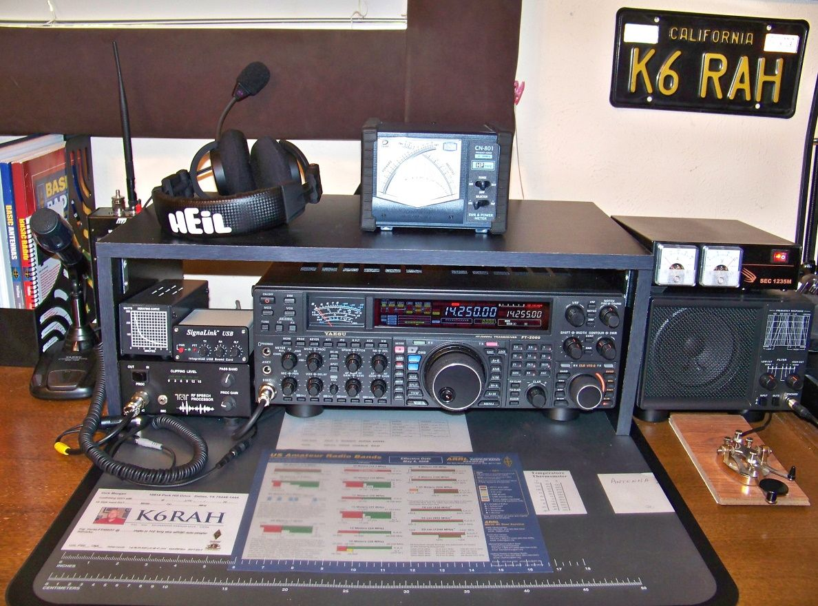Close-up of Yaesu FT-2000 and speaker, along with Ten-Tec RF speech