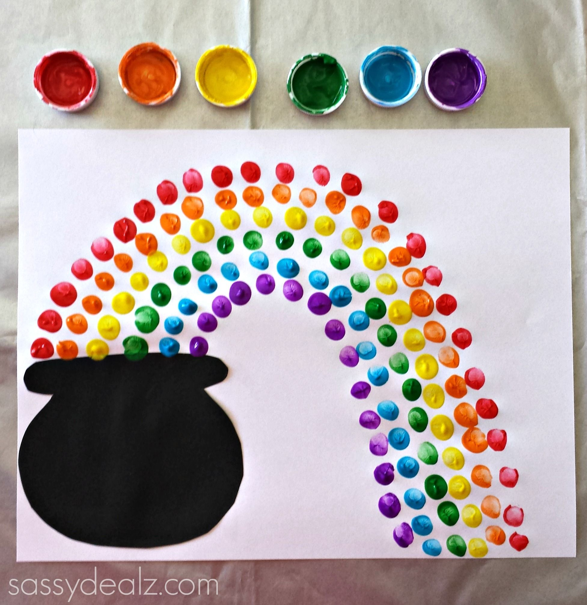 Fingerprint Rainbow Pot Of Gold Craft For St Patricks Day