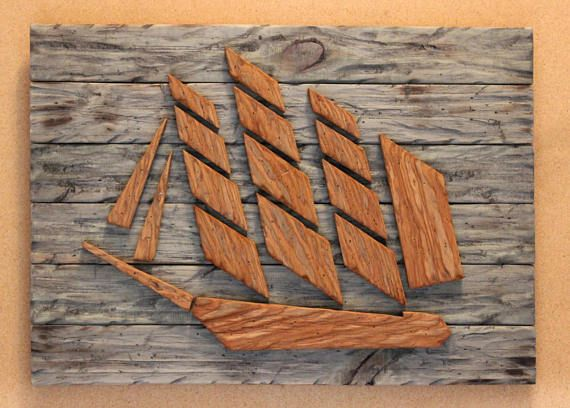 Photo of Wood Sail Ship-Sail Ship-Distressed Wood Sail Ship-Nautical Decor-Nautical Art-Rustic Decor-Distressed Wood SKU# LSDSS.