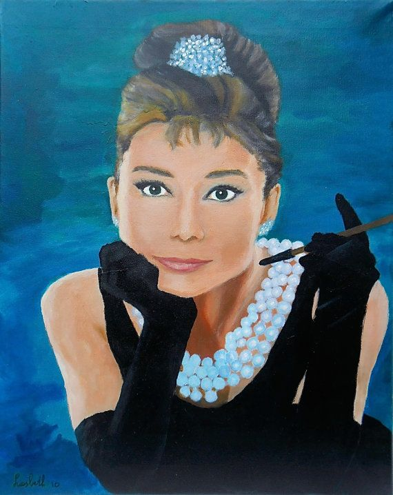 Original painting acrylic / Audrey Hepburn / by Liesbeth Visscher at #Etsy #actrices #art #fineart #fine