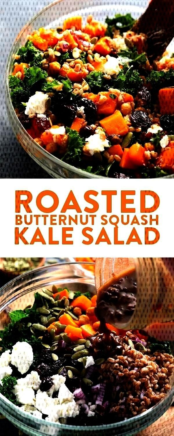 Roasted Butternut Squash Kale Salad with Farro and Goat Cheese for a h... - -Make this Roastedthis