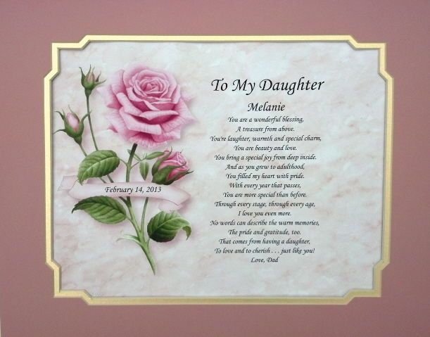 Valentines Day Quotes For Dad From Daughter: Daughter Poem Personalized Gift For Birthday, Christmas Or