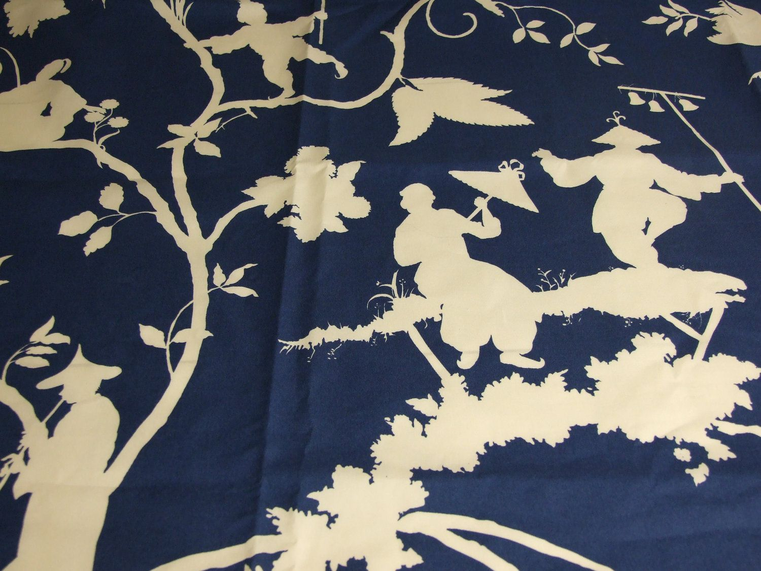 designer home decor fabric blue chinoiserie fabric toile 1 yard - Home Decor Fabrics By The Yard