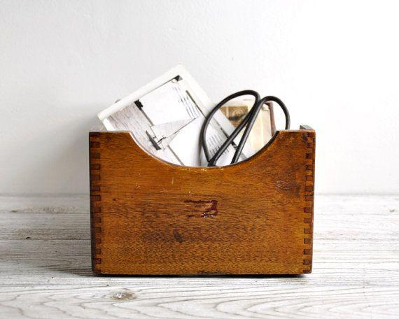 Antique Oak File Box, File Box, Card Catalog, Index Card File, Recipe Box, Office Decor, Quarter Sawn