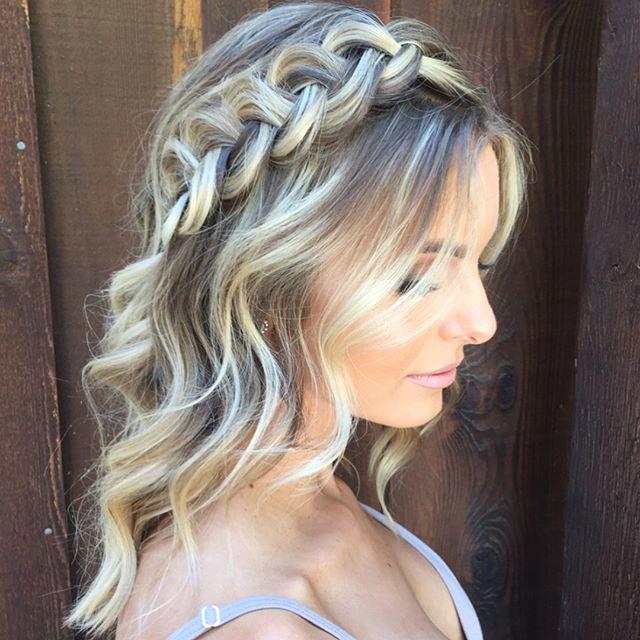 Side Braid Detail On Medium Length Hair Makeup By Shelby Mcelroy Dance Hairstyles Stylish Hair Medium Hair Styles