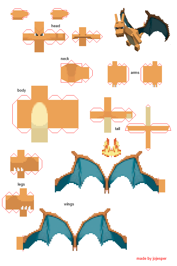 Pokemon Go Charizard Diy Origami Papercraft Perler Beads Washi Minecraft Decoupage Silhouette